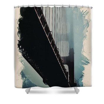 Watercolor Golden Gate Bridgeo Ca 2017  By Adam Asar - Shower Curtain