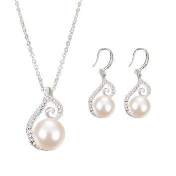 """PEACOCK"" Women Imitation Pearls Crystal Jewelry Set Necklace Earrings"