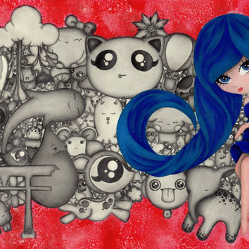 Retro, 60's inspired, Japan girl, Original Artwork, Illustration, red grey, big eyes, Cute, Unique, Vibrant, Kitsch, Cool, Amazing