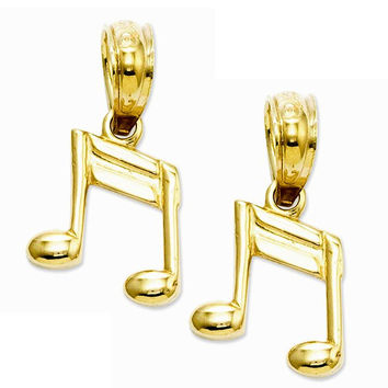14k Yellow Gold Sixteenth Note Hoop Earring Charms