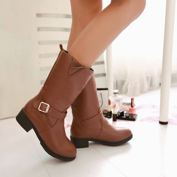 PU Round Toe Low Heel Metal Buckle Mid-calf Boots