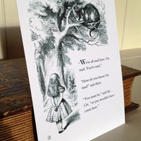 Postcard Alice in Wonderland Illustration Quote Design