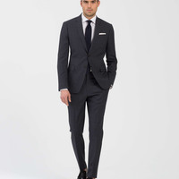 The Mayfair Suit in Micro Dark Grey Plaid