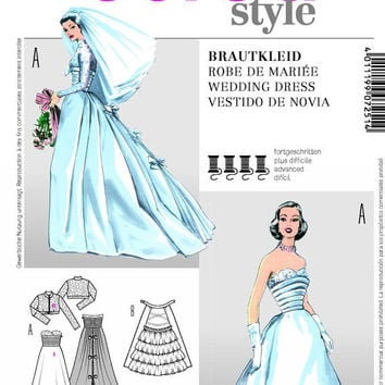 50s Inspired Wedding Dress, Wedding Gown and Jacket Sewing Pattern, Strapless, Corset Bodice, Burda 7251 Sizes 10, 12, 14, 16, 18,  uncut
