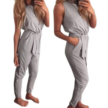 Cotton Gray Slim Jumpsuit