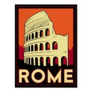 rome italy coliseum europe vintage retro travel posters