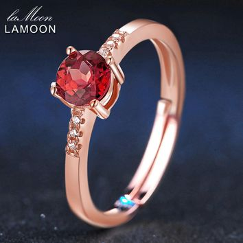 LAMOON 100% Natural Gemstone Classic 5mm 0.5ct Garnet Wedding Ring 925 Sterling Silver Jewelry Romantic LMRI012