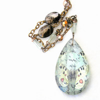 Butterfly Necklace, Chandelier Glass Pendant, Gemstone Necklace, Rutilated Quartz, Flourite, Pastel Necklace, Butterfly Jewelry