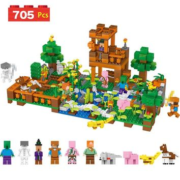 705 Pcs Technic My World Compatible LegoINGLYS Minecrafted Party The Skeleton Attack Building Block Bricks Christmas Gift Toys