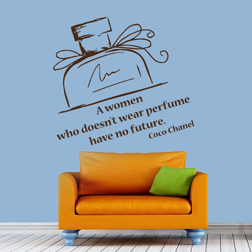 Coco Chanel Quote Woman Perfume Fashion Wall Decal Vinyl Sticker Wall Decor Home Interior Design Art Mural M972