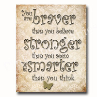 Neutral nursery artwork baby room decoration kids wall art Winnie pooh Dr Seuss Quotes braver believe playroom wall decor baby typography