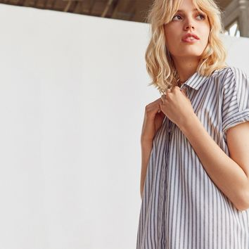 Women's Striped Rolled Short Sleeve Shirt Dress Summer Casual Button Down Mini Dresses Ladies Fashion Dresses