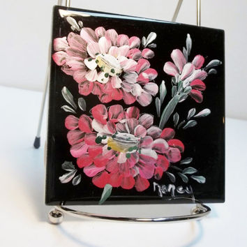 "Black Ceramic Tile 4.5""x4.5"" Hand Painted  Design My Garden Style Zinnia."