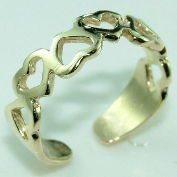 10K 14K Gold Gorgeous Hearts Knuckle, Toe Ring Adjustable