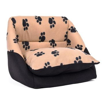Paw Pattern Soft Dog/Cat House Bed
