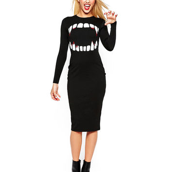 Black Vampire Print Long Sleeve Bodycon Dress