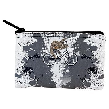 Bicycle Sloth Funny Grunge Splatter Coin Purse