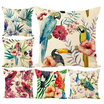 New arrival South American Style parrot peacock  Linen Throw Pillow cover Cartoon Lovely Fashion Hot sales Room Decor pillowcase