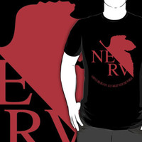 Evangelion NERV Anime Manga Cartoon logo custom black t-shirt