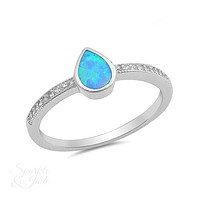 Sterling Silver Bezel Set Pear Opal & CZ Ring - Blue