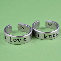 i love you i know - Hand Stamped Aluminum Couples Ring Set, Adjustable Skinny Rings, Newsprint Font Version