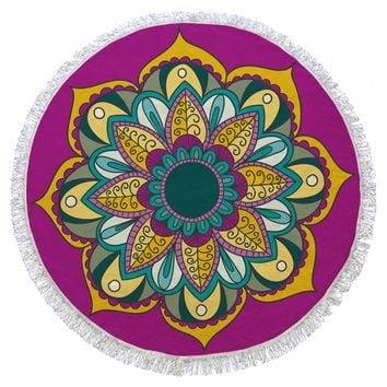 Plum and Yellow Mandala Turkish Cotton Round Beach Towel