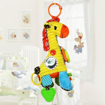 New Arrival Baby toys Musical Soft Giraffe Cartoon Animal Infant Todder Stuffed Plush links Bed Cradle Strollers Hanging Doll