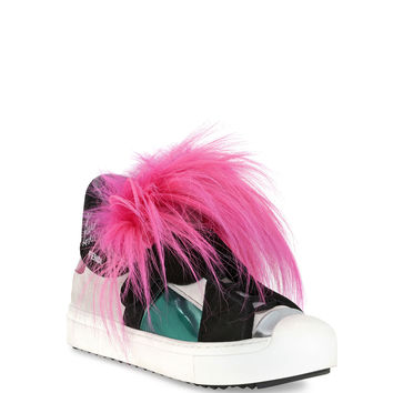 Fendi Bugs Leather Fur Monster Sneaker, Pink