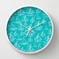 Sail Away Turquoise Wall Clock by Lisa Argyropoulos