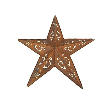 Metal Hanging Rusty Star with Black Lacey Christmas Decor, 18-Inch