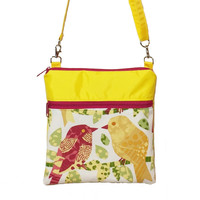 Birds Novelty | Dark Yellow with Dark Pink Ribbon | Mini Square