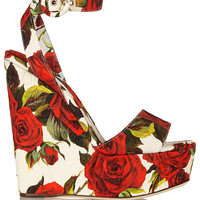 Dolce & Gabbana - Floral-brocade wedge sandals