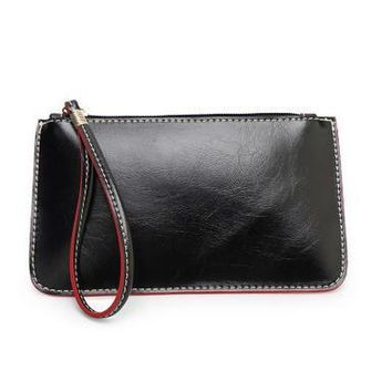 Hot Fashion Leather Wristlet Day Clutch Evening Bags Dollar Price Women Wallets Mobile Phone Bag Coin Purse bolsos