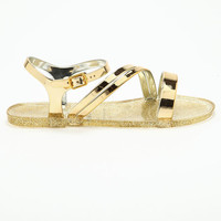 GOLD STRAPPY JELLY SANDALS