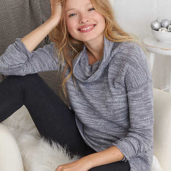 Aerie Real Soft® Cowl Neck Sweatshirt, Navy