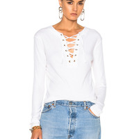 Enza Costa Lace Up Top in Black in White   FWRD