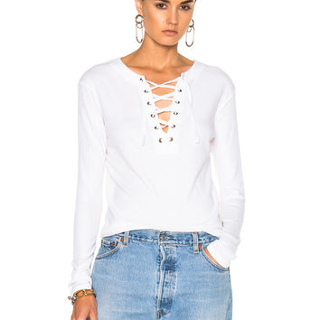 Enza Costa Lace Up Top in Black in White | FWRD