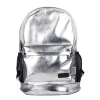 Shiny Silver Backpack with Black Accents