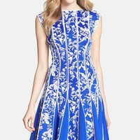 Women's Tadashi Shoji Embroidered Neoprene Fit & Flare Dress