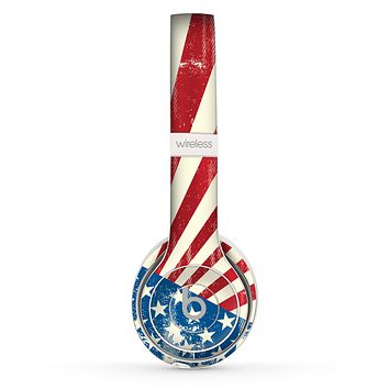 The Vintage Tan American Flag Skin Set for the Beats by Dre Solo 2 Wireless Headphones
