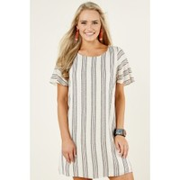 Everly Spoiler Alert Cream Striped Dress
