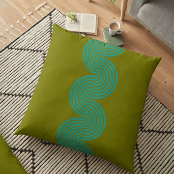 'groovy minimalist pattern: aqua waves on olive' Floor Pillow by VrijFormaat
