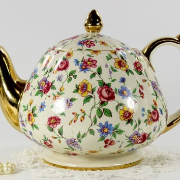 Sadler Chintz Tea Pot, Wild Flower Florals on Cream Background, Sadler English Teapot 12642