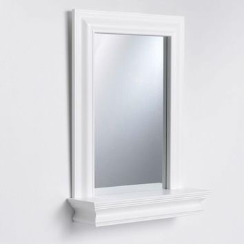 Framed Bathroom Mirror with Bottom Shelf in White Wood Finish