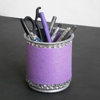 LAVENDER & BLING Pen/Pencil Cup Holder - Lavender purple w/ clear rhinestones