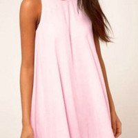 Pink Sleeveless A-Line Pleated Mini Dress