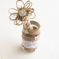 Guest Book Pen- Burlap Guest Book Pen- Pen Holder-Rustic Guestbook Pen.