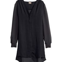 H&M - Satin Blouse - Black - Ladies