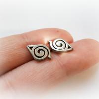 Naruto studs - Naruto sterling silver post earrings - Hidden Leaf Village jewelry - Konohagakure earrings