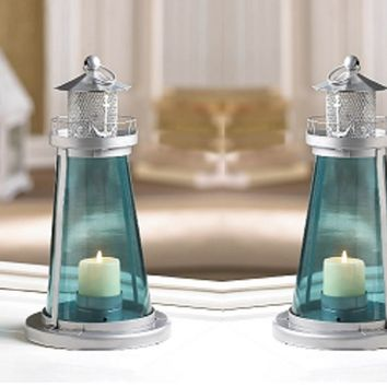 WEDDINGS!! 10 Blue Glass Nautical Lighthouse Watch Tower Lantern Centerpieces